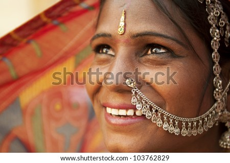 Portrait of an India Rajasthani woman - stock photo