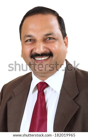 Portrait of an Indian business man isolated over white background. Studio shot. - stock photo