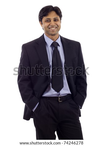 Portrait of an Indian business man isolated over white background. Studio shot.