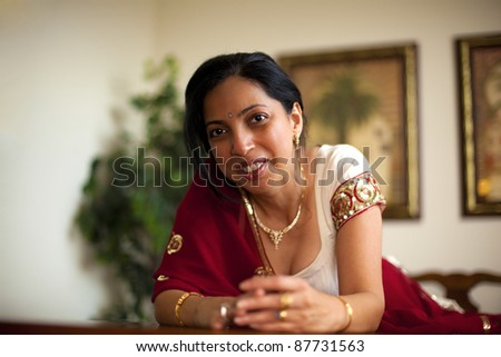 Portrait of an Indian lady. - stock photo