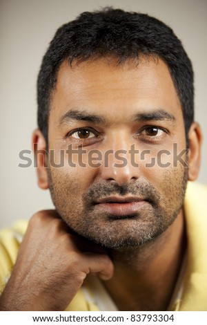 Portrait of an Indian man.