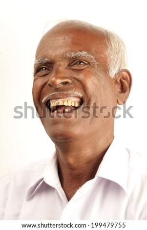 Portrait of an Indian senior citizen. - stock photo