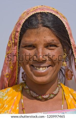Portrait of an Indian woman, Pushkar, Rajasthan, India. Close up . - stock photo