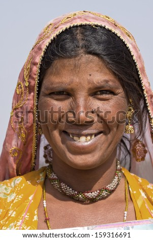 Portrait of an Indian woman, Pushkar, Rajasthan, India. Close up .