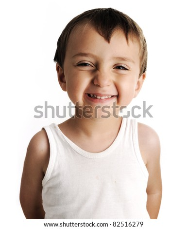 Portrait of an innocent kid  giving you a cute smile - stock photo