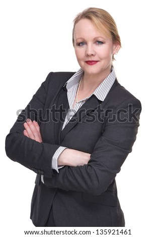 Portrait of an intelligent businesswoman isolated on white - stock photo