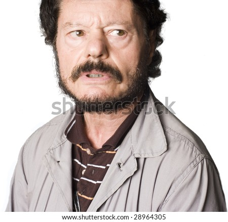 Portrait of an Latino man with puzzled expression - stock photo