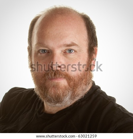 Portrait of an obese middle aged man - stock photo