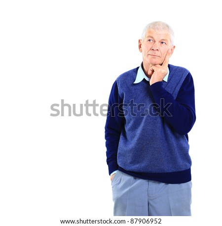 Portrait of an old business executive lost in deep thought against white background - stock photo