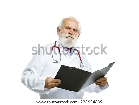 Portrait of an old male doctor with a stethoscope around his neck holding folder isolated on white background - stock photo