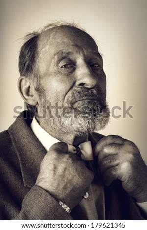 Portrait of an old man in a suit with a bow tie - stock photo