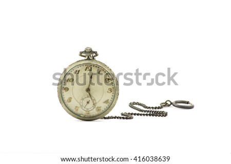 portrait of an old silver pocket watch / antique pocket watch