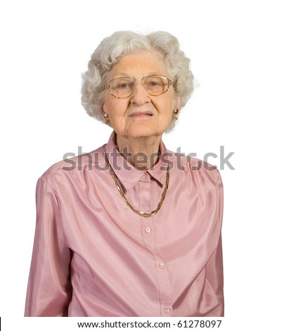 Portrait of an old woman. Shot against a white background. - stock photo