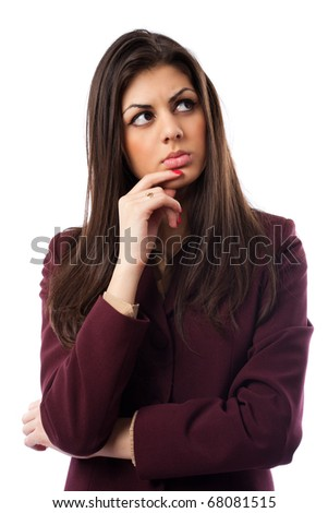 Portrait of an upset latin young businesswoman isolated on white - stock photo