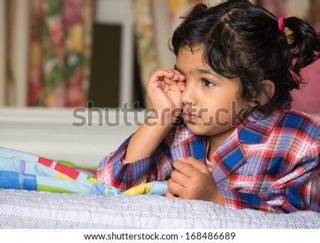 Portrait of an Upset Little Girl - stock photo