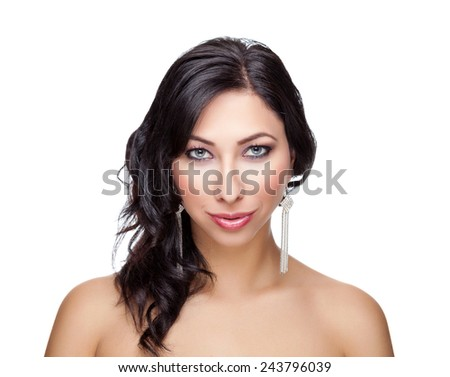 Portrait of an young beautiful woman with perfect skin - stock photo