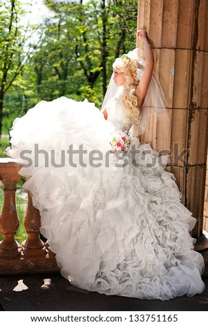 Portrait of an young bride with beautiful wedding hairstyle - stock photo