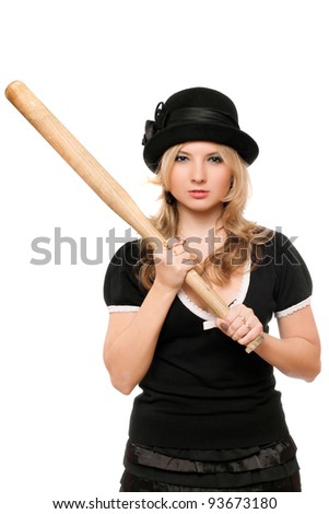 Portrait of angry lady with a bat in their hands - stock photo