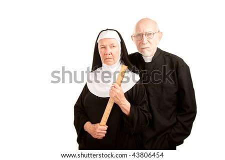 Portrait of angry priest and nun in black - stock photo