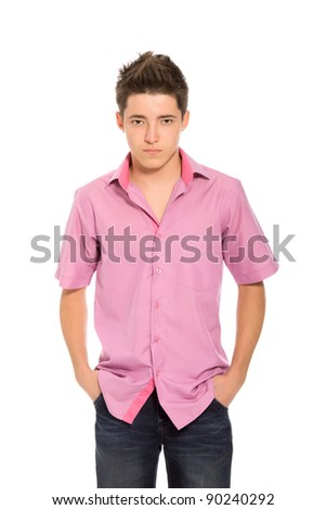portrait of angry serious young man, boy isolated over white background, concept problem worried teenager student - stock photo