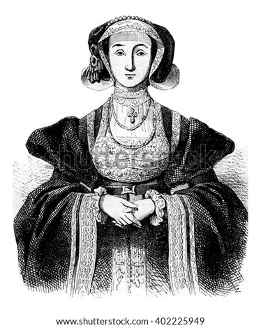 Portrait of Anne of Cleves, of after Holbein, vintage engraved illustration. Colorful History of England, 1837.