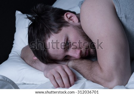 Portrait of anxious man with mental problem - stock photo