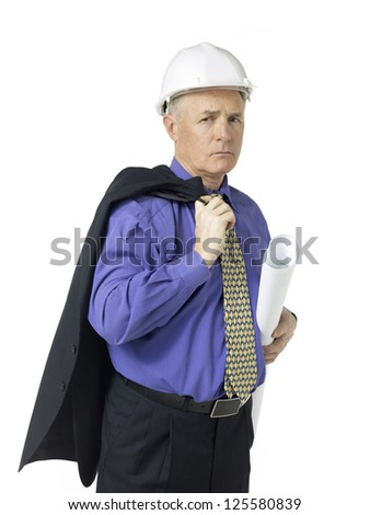Portrait of architect holding a plan against white background - stock photo