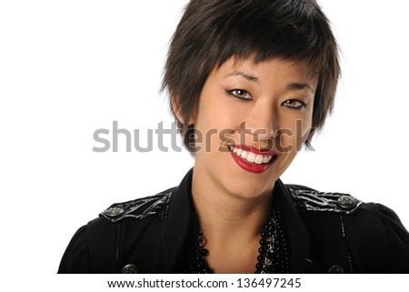 Portrait of Asian American businesswoman indoors isolated over white background - stock photo