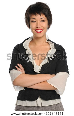 Portrait of Asian American businesswoman isolated over white background - stock photo
