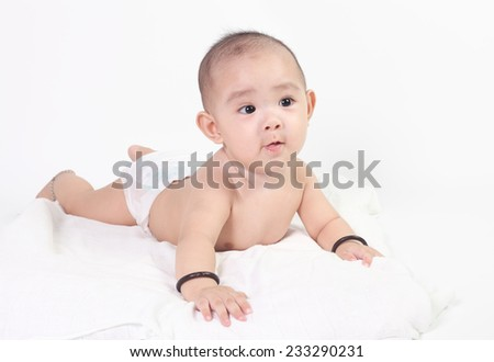 Portrait of Asian baby boy - stock photo