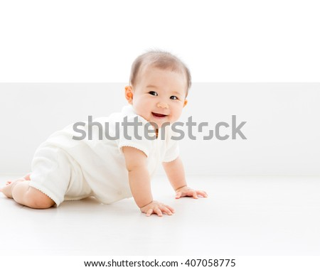 portrait of asian baby isolated in the room