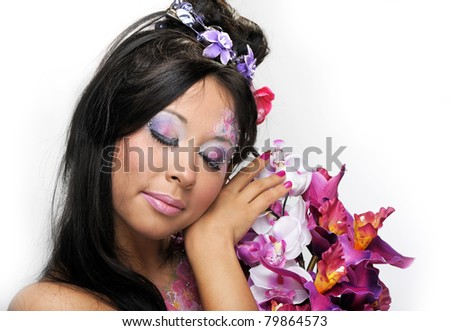 Portrait of asian beauty girl with flowers