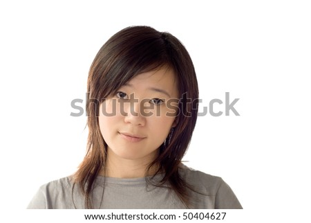 Portrait of Asian beauty on white background.