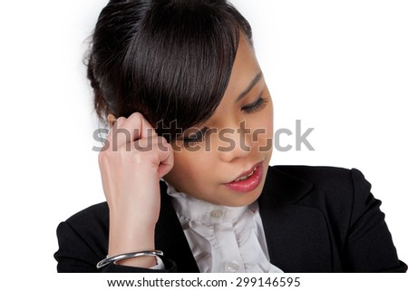 portrait of Asian business woman feeling stressed on white - stock photo
