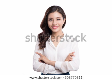 Portrait of asian business woman on the white background - stock photo