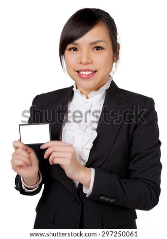 portrait of asian business woman taking business card isolated on white background - stock photo