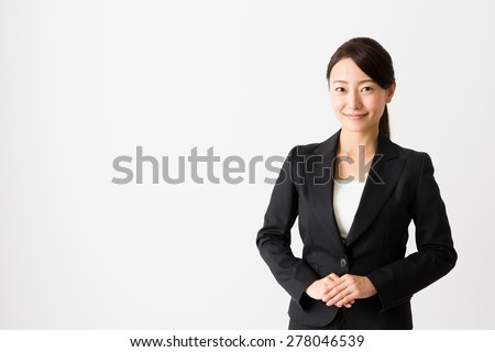 portrait of asian businesswoman isolated on white background - stock photo