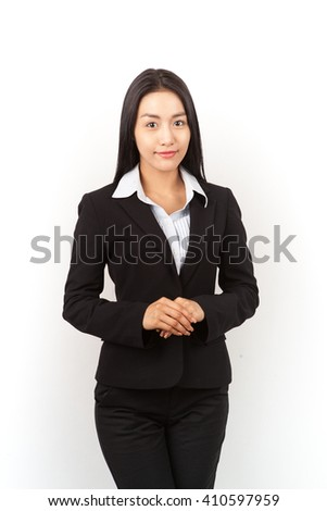 Portrait of Asian businesswoman.Isolated with write background.