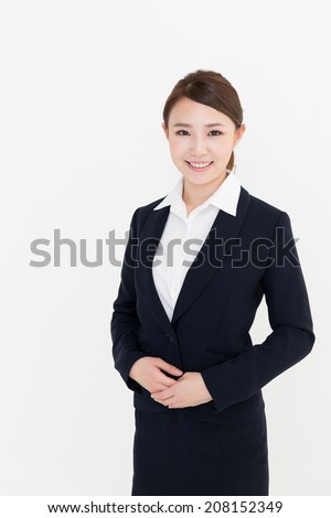 portrait of asian businesswoman on white background - stock photo