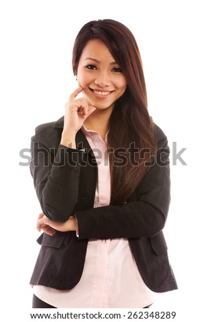 portrait of asian businesswoman over white isolated background - stock photo