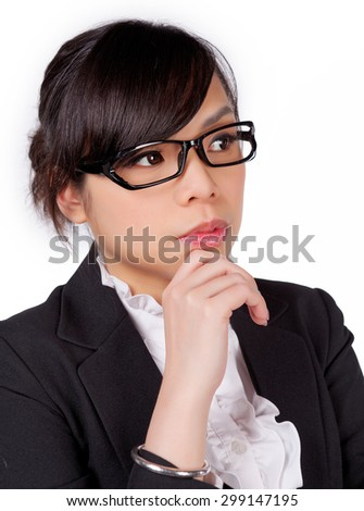 portrait of asian businesswoman thinking isolated on white background
