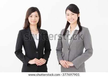 portrait of asian businesswomen isolated on white background - stock photo
