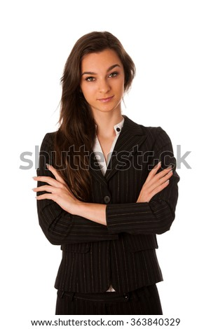 portrait of asian caucasian business woman