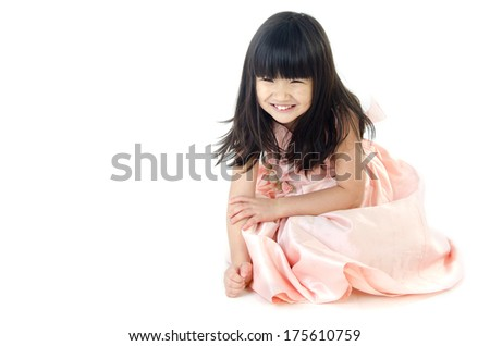 Portrait of asian cute girl isolate on white background .