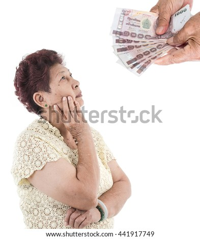 Portrait of Asian elderly woman thinking about money, isolated over white background.