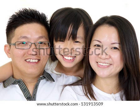 portrait of asian family - stock photo