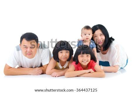 Portrait of asian family - stock photo