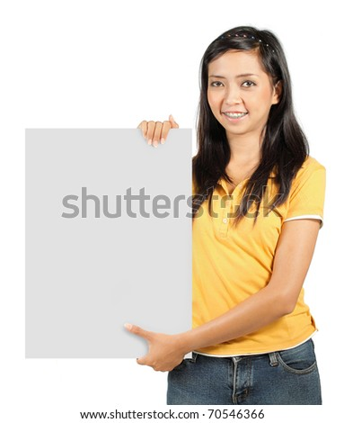 portrait of asian girl holding a big blank white card - stock photo
