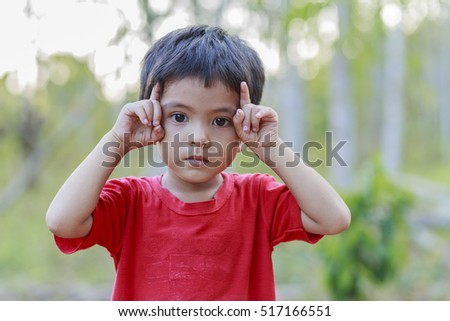 Portrait of Asian little boy outdoor