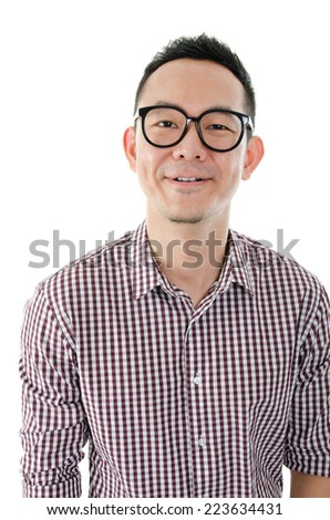 Portrait of Asian male looking at camera, smiling standing isolated on white background. - stock photo